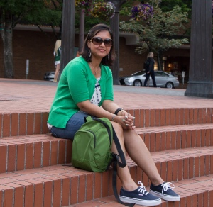 At the Pioneer Courthouse Square, Portland